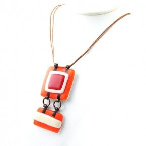 Vetrofuso by Daniela Poletti necklace red and orange