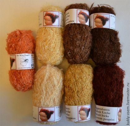 Купить или заказать Кукольные волосы. Пряжа для Вальдорфских кукол, Белый ангел в интернет-магазине на Ярмарке Мастеров. Пряжа для кукольных волос 'Белый Ангел' De Witte Engel (Нидерланды, Голландия). Буклированная, мягкая, волнистая. Натуральный мохер. Приятная на ощупь, естественные цвета. Состав - 74% мохер, 17% шерсть, 9% полиамид. Также в наличии есть Пряжа для волос: белая, серая, черная. Цена указана за 1 моток. V99983 Кукольные волосы De Witte Engel (Нидерланды), арт. См.
