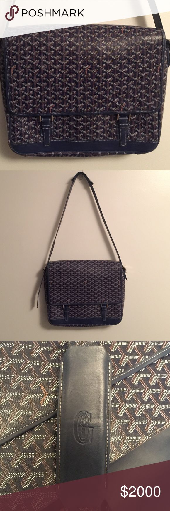 """GOYARD Messenger Bag blue 2 buckle Leather Excellent condition! GOYARD cross body messenger bag. 2 buckle closure in front. Serial number to ensure authenticity. Guaranteed. Measures approx 15"""" wide x 12"""" tall x 3"""" deep. Strap is approx 55"""" long x 1.5"""" wide. Please message for more info. Goyard Bags Crossbody Bags"""
