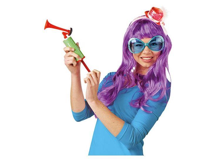 Toeoeoet! Met deze pruik, bril en hoedje op een haarband ben jij klaar voor carnaval!