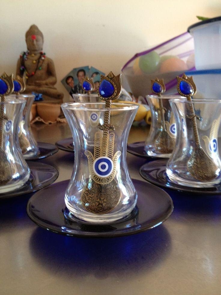 Turkish tea glasses with Hasma (Hand of Fatima) hand print.