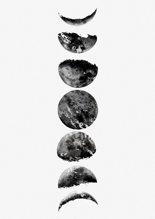 Moon Phases Digital Art Moon Phases Black By Erzebet S Moon Phases Art Moon Phases Moon Cycle Tattoo