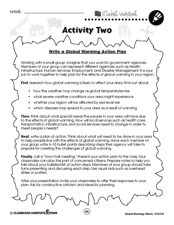 Write an action plan to combat global warming with this FREE activity from CCP Interactive, a division of Classroom Complete Press. See our full ready-made lesson at http://ccpinteractive.com/pdf/global-warming-effects-ccp5770 #environment #world #planet #science #protect #STEM #STEAM