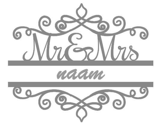 Mr en Mrs sticker met naam