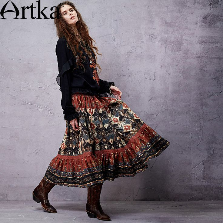 Goods.Site - Artka Women Bohemian Ethnic Skirts Lace & Original Material Design Super Quality Woman Floral Vintage Skirts QA14058X PRESELL