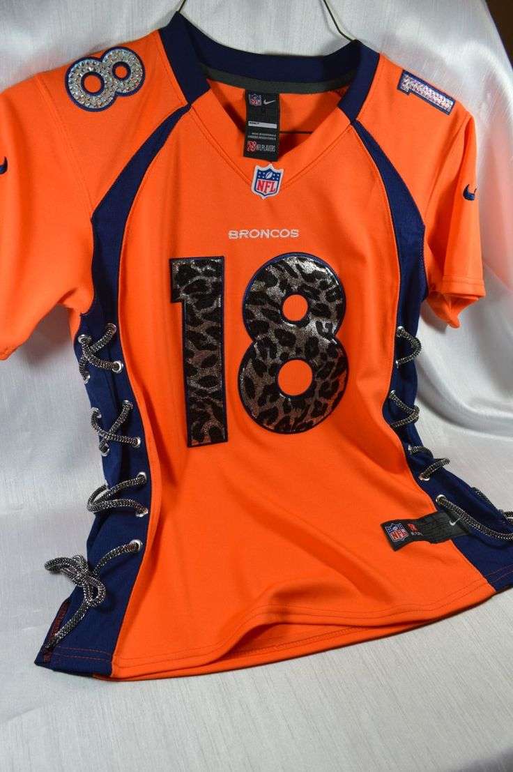 Denver Broncos Manning Women's Cheetah print Jersey. Made by hand with Swarovski Crystals. www.customteambling.com
