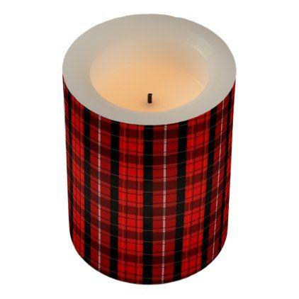 Modern red black scottish tartan pattern flameless candle - patterns pattern special unique design gift idea diy