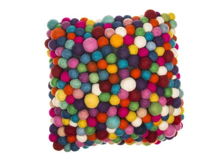 Handmade Felt Multicoloured Ball Cushion