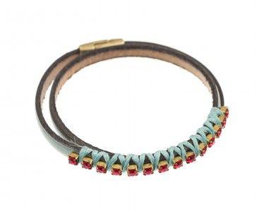 Leather bracelet with Swarovski strasses, by Art Wear Dimitriadis -Handmade-