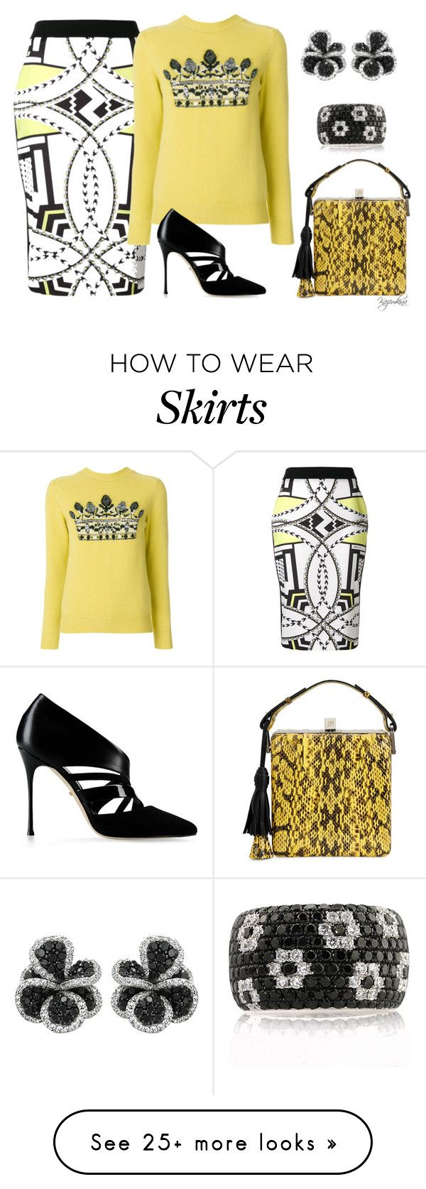 """Abstract Pattern Skirt"" by kazemkina on Polyvore featuring Versace, Sergio Rossi, Jill Haber, Effy Jewelry and Mark Broumand"