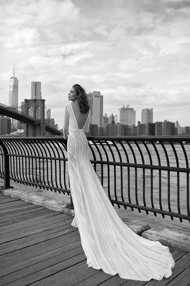 Long sleeves | Chic | Sexy | V neckline wedding dress | beaded | French Lace | Long train | Flora bridal I Gabriella By FLORA I coming soon