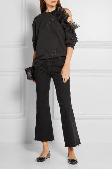 Christian Louboutin - Ballalarina Bow-embellished Leather Flats - Black - IT38.5