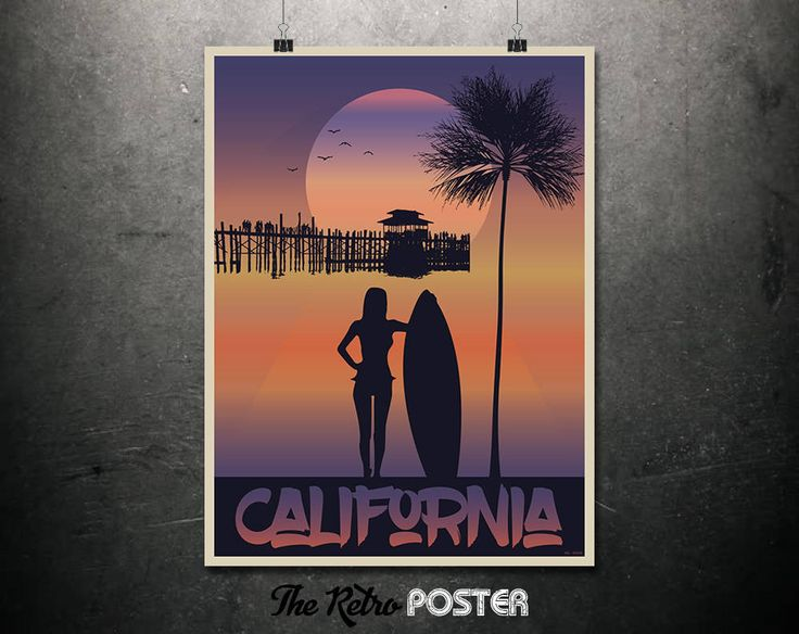 California Sunset - California Travel Poster, California Wall Art, Travel Prints, Travel gift, Surf Art, Surf Print, Ocean Print, Beach Art by TheRetroPoster on Etsy