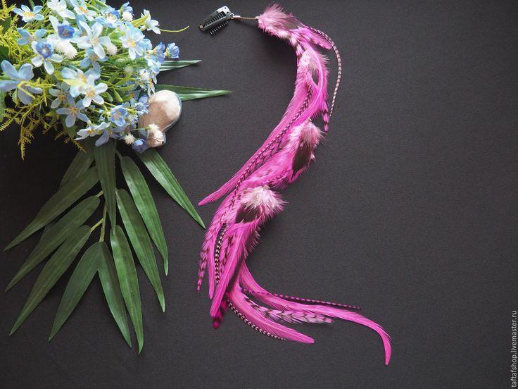 Французская роза - яркие розовые перья для волос на съемной заколке - полосатый, перо, перья