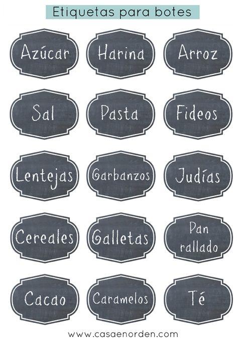 Etiquetas imprimibles para poner en los botes y tarros de tu despensa - Ordena los armarios de tu cocina - www.casaenorden.com #decoracion #organizacion #tag #label #pantry #kitchen #imprimible #printable