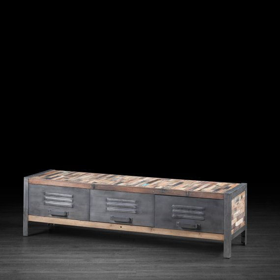 Urban 3 Drawer TV Unit Made of Industrial Metal and Recycled Wood Boat Wood | Locker Style Entertainment Stand Made Repurposed Wood