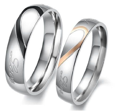 """D Jewelry Lover`s Heart Shape Titanium Stainless Steel Promise Ring """"Real Love"""" Couple Wedding Bands $5.89"""
