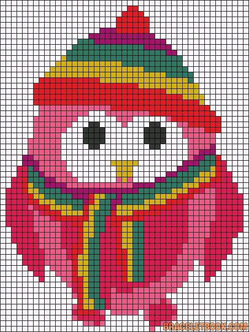 Winter colorful owl perler bead pattern