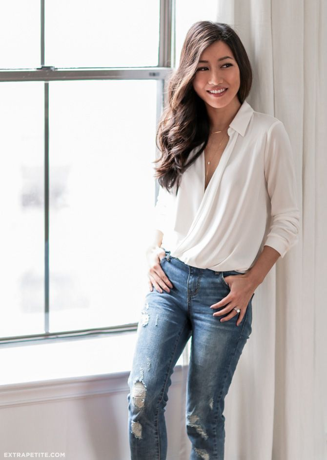 classic white wrap blouse + boyfriend jeans // casual outfit idea