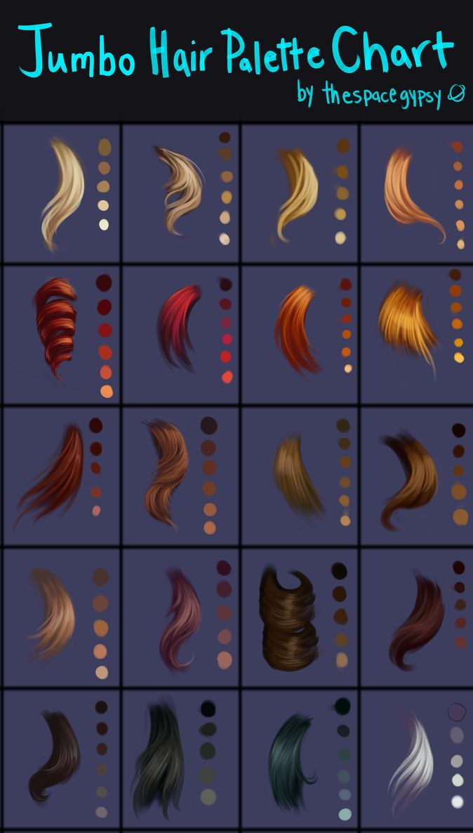 Jumbo Hair Palettes Chart by StarshipSorceress on DeviantArt - blend different shades to create a more realistic look