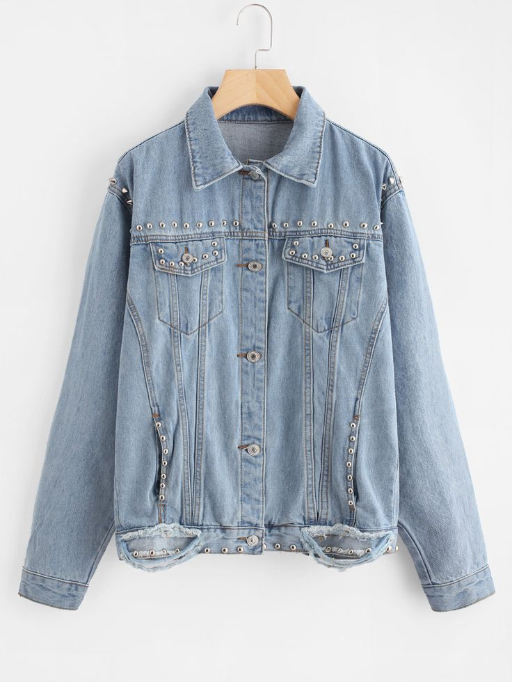 Shop Ripped Beaded Denim Jacket online. SheIn offers Ripped Beaded Denim Jacket & more to fit your fashionable needs.