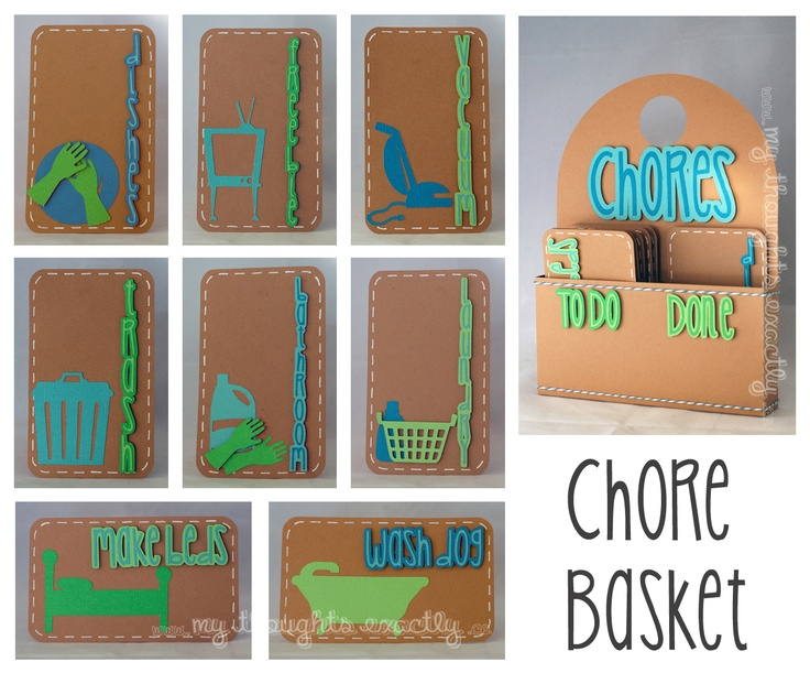 """Chore basket and chore cards. One side for """"To Do"""" and one side for """"Done""""."""