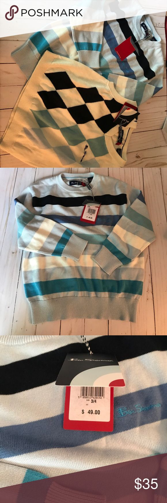 Ben Sherman Boys Sweaters NWT Size 3-4 Ben Sherman 100% cotton sweaters, new with tags, size 3-4.  The long sleeve sweater has stripes in shades of blue; the v-neck vest has an argyle pattern. Ben Sherman Shirts & Tops Sweaters