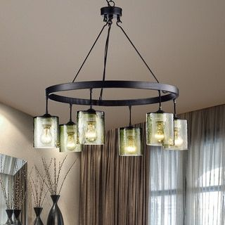 Mariana Antique Black Finish 6-Light Glass Chandelier - 18410370 - Overstock.com Shopping - Great Deals on The Lighting Store Chandeliers & Pendants