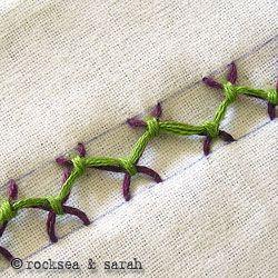tied herringbone stitch | Sarah's Hand Embroidery Tutorials
