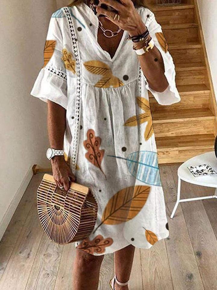 A-Linie- Kleid mit Blättermuster
