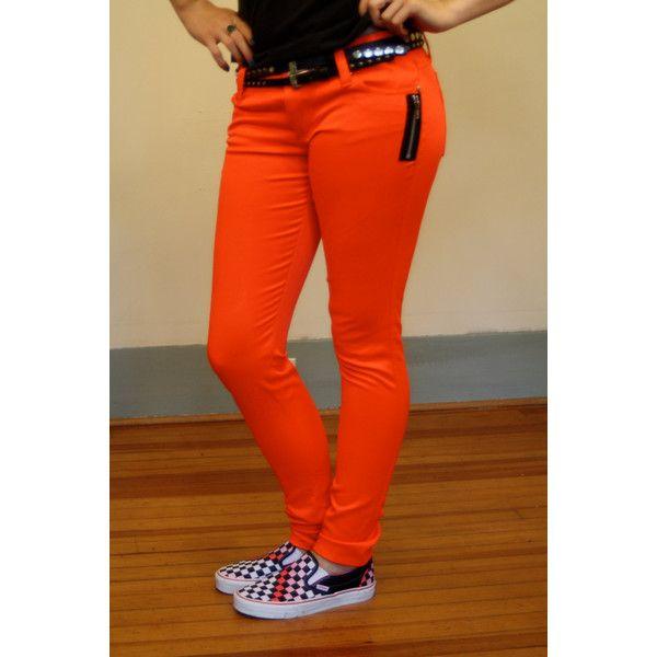 Vintage 80s Neon Orange Pants Skinny Jeans TRIPP Skin Tight Bright... (63 AUD) ❤ liked on Polyvore featuring jeans, pants, punk skinny jeans, skinny jeans, leather skinny jeans, zipper jeans and orange skinny jeans