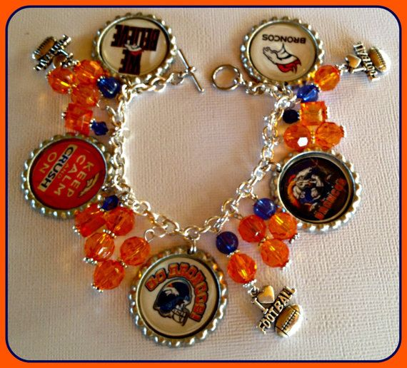 Denver Broncos Charm Bracelet Unique Custom Sports & Themed Jewelry NFL,ncaa,mlb,nhl,nba by SportsnBabyCouture on Etsy