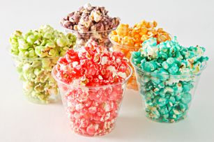 KOOL-AID POPCORN 3 qt. (12 cups) popped popcorn 1 cup sugar 1/2 cup light corn syrup 1/3 cup butter 1 env. (0.13 oz. to 0.23 oz.) KOOL-AID Unsweetened Drink Mix, any flavor 1/2 tsp. baking soda Click the image for the preparation directions
