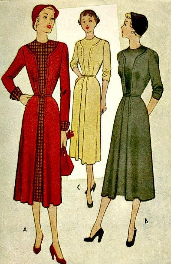 Vintage naaien patroon - 1950 op maat jurk - McCALL 8247 ONBESNEDEN - buste van 34