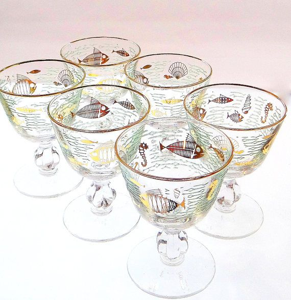 Mid Century Modern Cocktail Glasses with Sea Life Motif Set