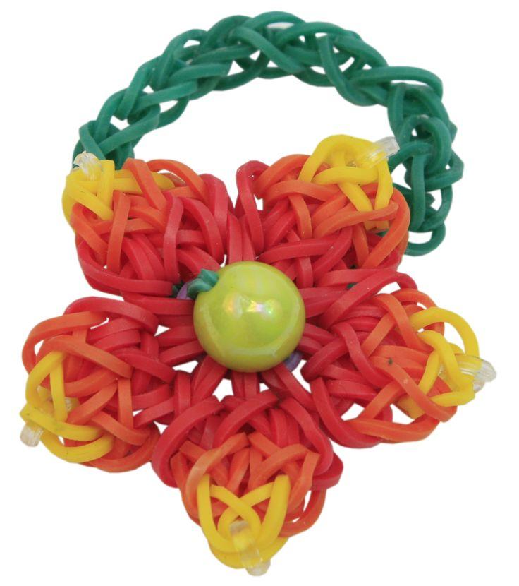 Pulsera se ligas en forma de flor. Naranja/Verde/Amarilla