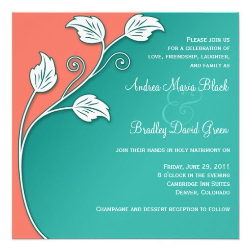 Leafy Vine Turquoise, Coral White Wedding Card