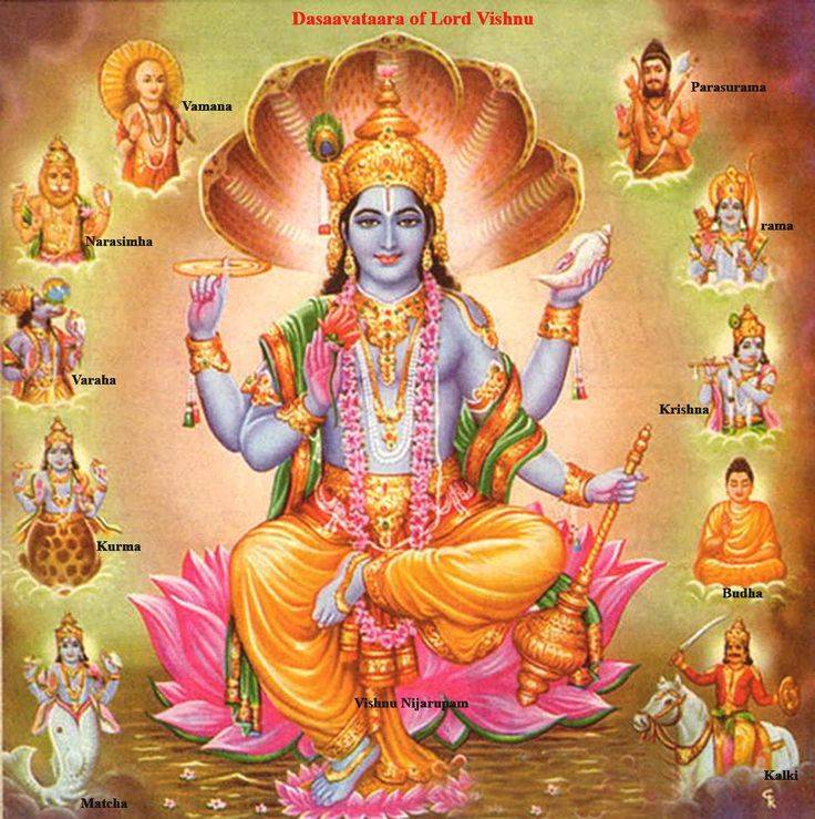 Lord Vishnu is attributed with taking 10 Avatars, the prime and popular among them are Rama and Krishna. Description from cvrajan.hubpages.com. I searched for this on bing.com/images