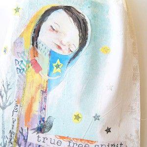 True Free Spirit Girl & Bird Canvas Tote Bags