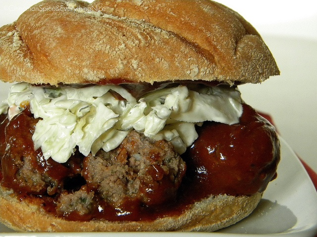 Meatball Sandwiches with Onions and Cole Slaw | Barbecue, Meatball ...