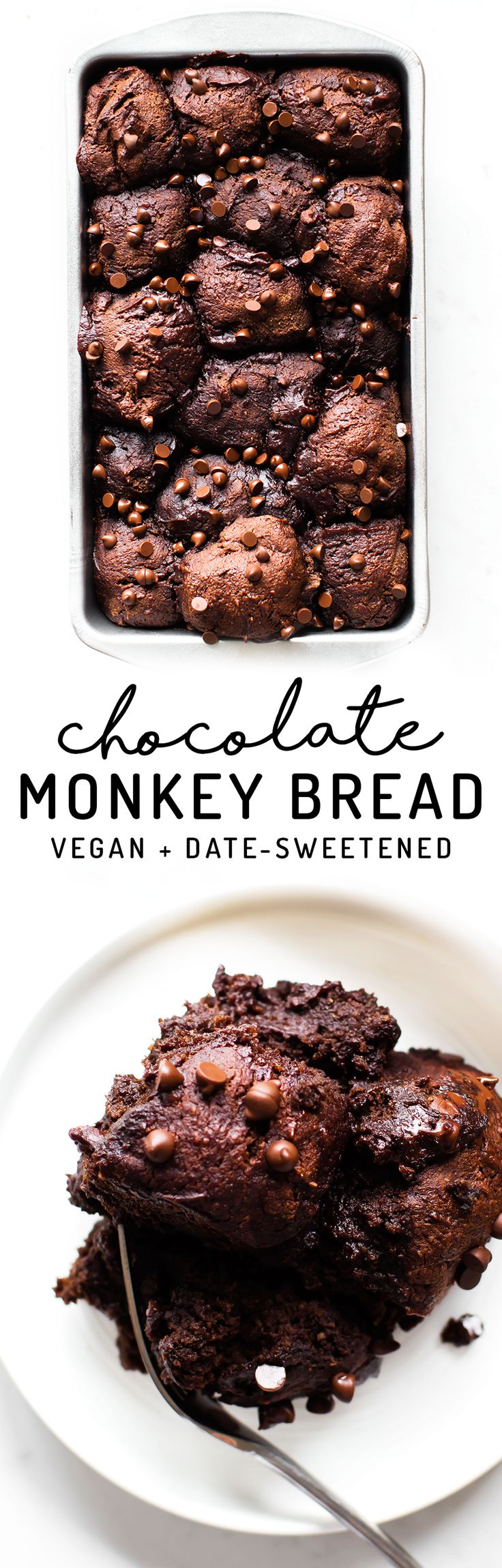 Monkey bread and brownie collide in a sticky sweet loaf of Chocolate Monkey Bread without sugar or grains for a healthier-than-it-looks fudgy dessert feast!