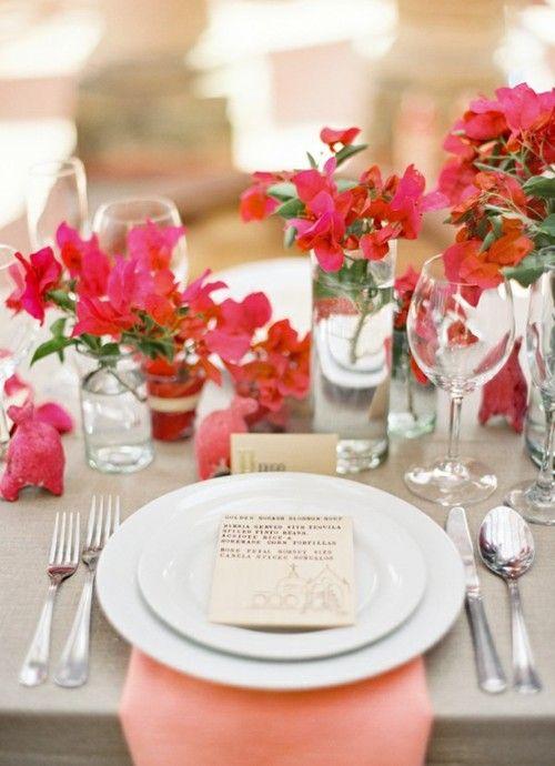 table setting: Wedding Tables, Vase, Tables Sets, Bougainvillea, Idea, Coral, Colors Palettes, Places Sets, Tables Flowers