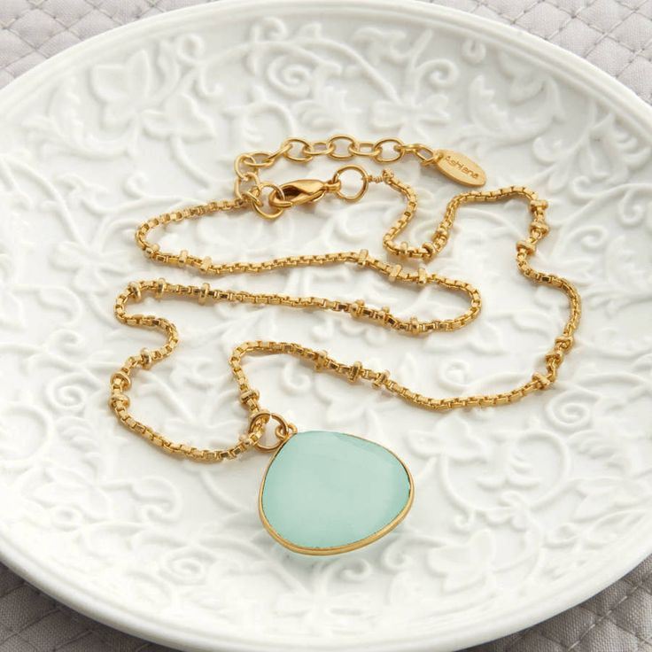 Gold And Aqua Chalcedonay Necklace