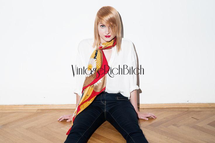 Vintage ľahká hodvábna šatka Nina Ricci zo 40-tych rokov