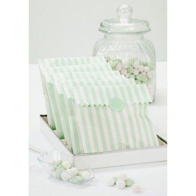 Sachets confiserie rayures vert mint - Lot de 10