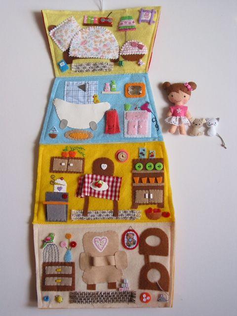 Szívecskés hajtogatós házikó-játszókönyvecske, Baba-mama-gyerek, Játék, Készségfejlesztő játék, Baba, babaház, Meska