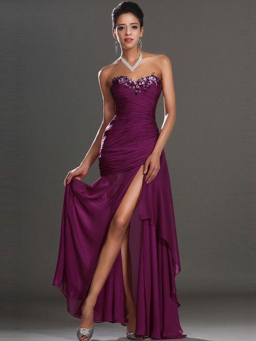 Fancy Trumpet/Mermaid Sleeveless Sweetheart Chiffon Ankle-Length Beading Evening Dress