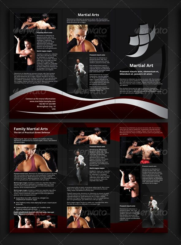 "Martial Arts Trifold Brochure Template  #GraphicRiver         Cool Strong and Sharp Martial Art Trifold Brochure. Background are 100% vector. file .indd, .idml are provided so can be opened in lower version of Indesign. Very appropriate as informative brochure, promotional, and many others.  	 Dimensions: 16.77"" x 11.69"" (426×297 mm) Pages: 6 (including cover) Bleed: 3 mm  	 Paragraph Style, Layers, Master Pages, Links, and Layout are well organised.  	 Colours: Black> C = 0 M = 0 Y = 0 K…"