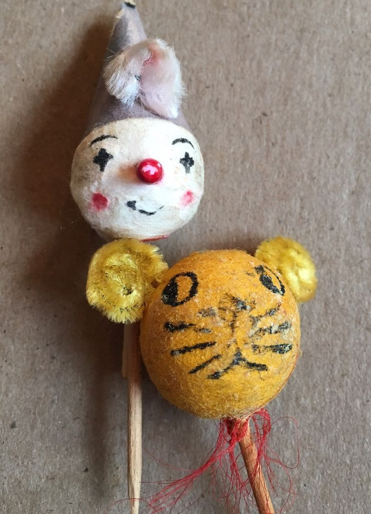 Lot of 2 Vintage Cupcake Picks Toppers Circus Clown and Lion / Tiger Party Old  | eBay