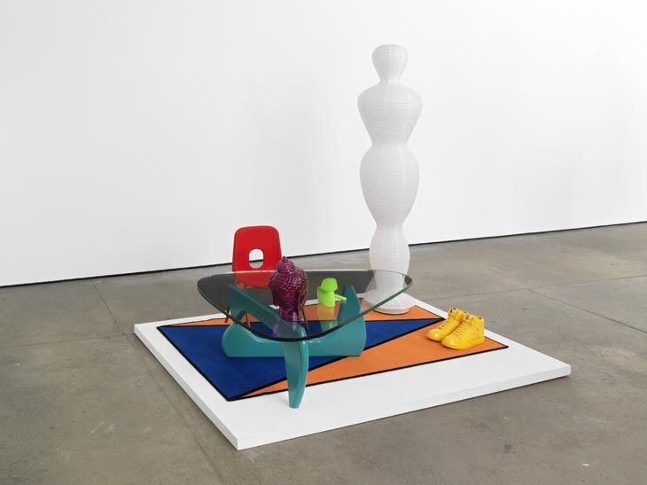 Untitled: Furniture Island No. 2 (and detail)  2008  Abacus rug, ikea torim lamp, noguchi replica table, robin day chair, nike dunk supremes, buddha head, panton miniature, rashid lighter  190 x 180 x 140 cm